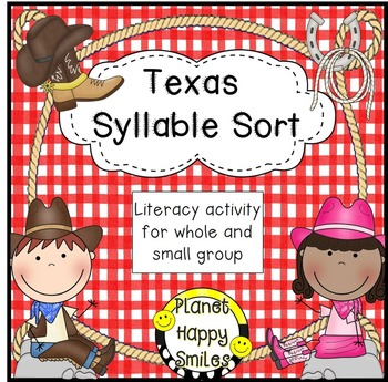 Texas Syllable Sort ~ smart board and student activity, Planet Happy Smiles