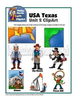 Texas Unit 2 clip art and coloring sheets