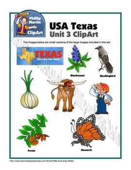 Texas Unit 3 Clip Art and Coloring Sheets