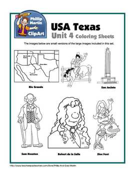 Texas Unit 4 Coloring Sheets and Clip Art