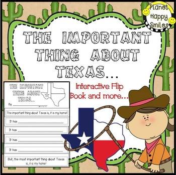 Texas ~ Writing Activity: The Important Thing about Texas,  Planet Happy Smiles
