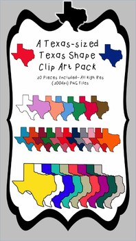Texas-sized Texas Shape Clip Art Pack (Personal or Commerc