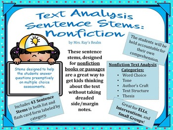 Nonfiction Sentence Stems for Text Analysis