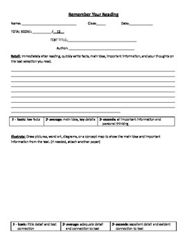 Text Comprehension Organizer