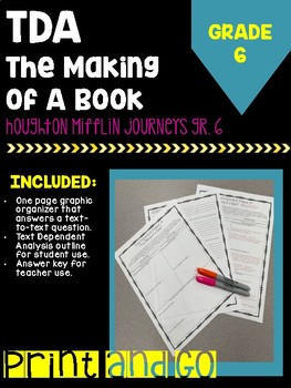 """Text Dependent Analysis """"The Making of a Book"""" HM Journey'"""