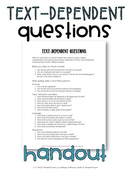 Text-Dependent Questions Handout {for Close Reading}