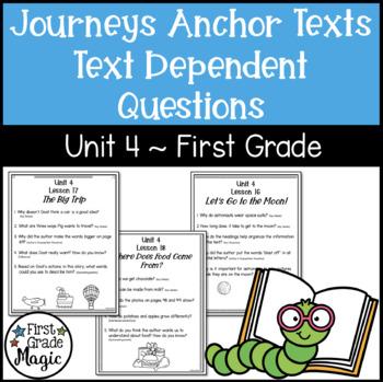 Text Dependent Questions Unit 4 Journeys First Grade
