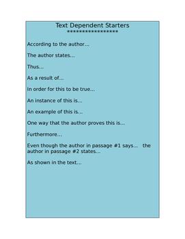 Text-Dependent Sentence Starters