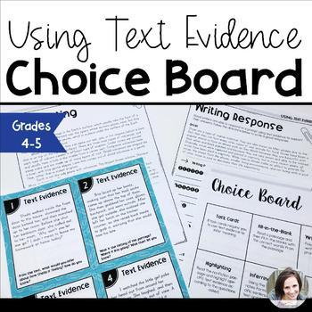 Text Evidence Choice Board
