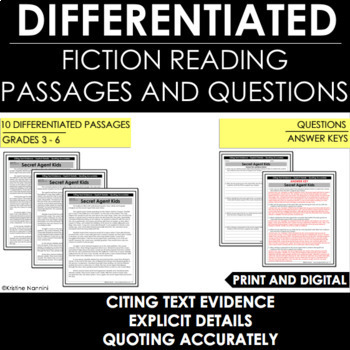 Text Evidence - Explicit Details:  Differentiated Reading