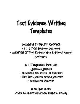 Text Evidence Graphic Organizer