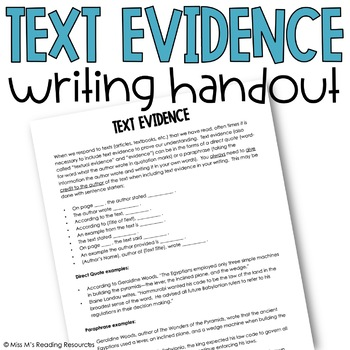 Text Evidence Writing Reference Handout