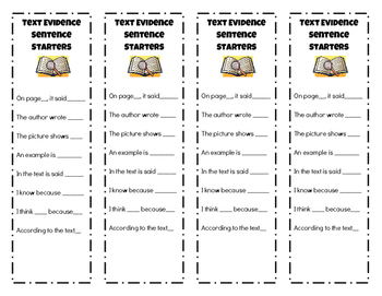 Text Evidence Sentence Starters Bookmark