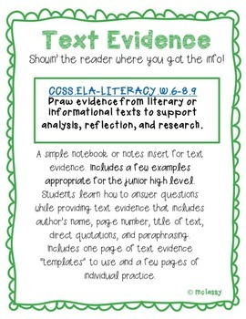 Text Evidence Template and Examples