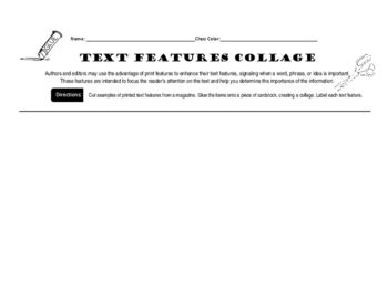 Text Features Activity for Secondary Students