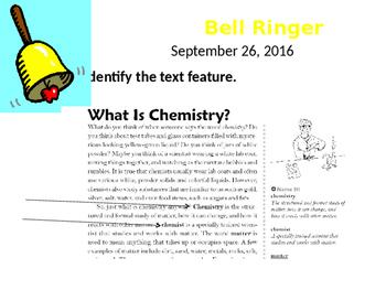 Text Features Bellringer