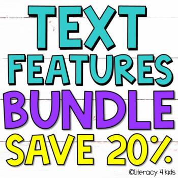 Text Features Task Cards, PowerPoint, and Posters $$$ Savi