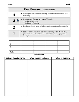 Text Features Informational Marzano Scale (RI.2.5)
