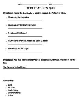 Text Features Quiz
