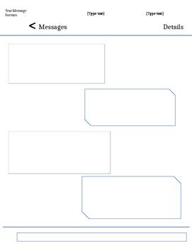 Text Message Literature Circle Template