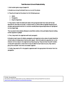 Text Structure Cut-and-Paste Activity