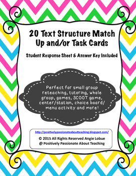 Text Structure Match Up Activity and Task Cards