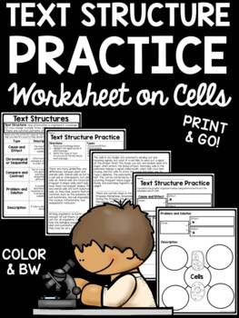 Text Structure Practice for Middle School- Test Prep, Pass