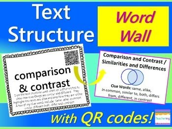 Text Structure Word Wall {with QR Codes, Definitions, & Ex