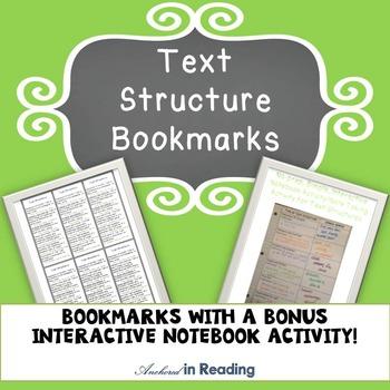 Text Structures Bookmarks and Bonus No-Prep Interactive No