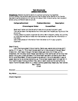 "Text Structures ""Letters from Camp!"" - Grades 5,6,7,8,9"