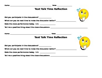Text Talk Time Reflection Sheet