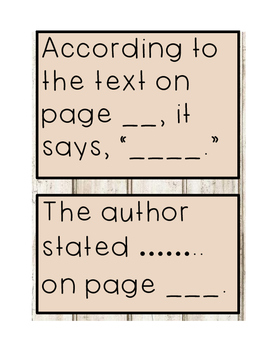 Text evidence sentence stems