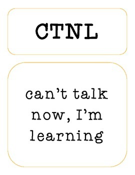 Texting Dictionary of Acronyms - Bulletin Board - Classroom Decor
