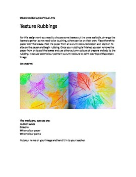 Texture Rubbings- Special Needs