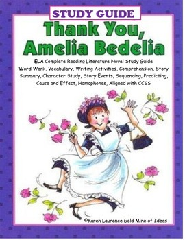 "Thank You, Amelia Bedelia ""I Can Read"" ELA Novel Study Guide"