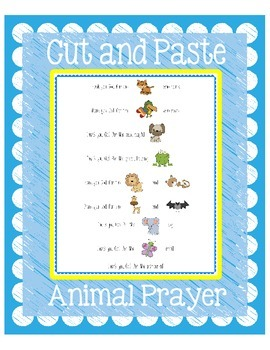 Thank You God For Animals - Cut and Paste Prayer