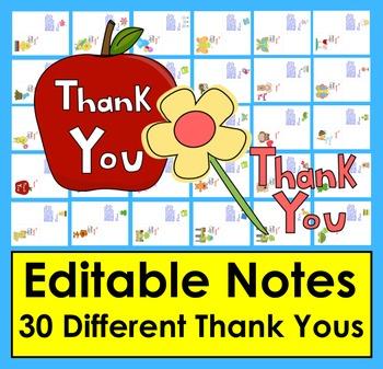 Editable Thank You Notes - End of Year - Teacher Appreciat