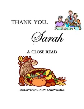 Literacy - Thank You, Sarah - A Close Reading Lesson