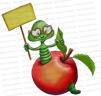 Thank you Worm Illustration, Worm clipart - Hand drawn ill