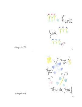 Thank you cards - Original watercolor designs