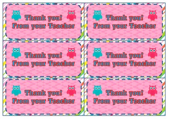 Thank you from your teacher note cards