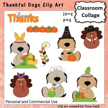 Thankful Dogs Thanksgiving Clip Art - Color - personal & c