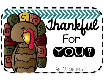 Thankful For YOU: An editable note for your students!