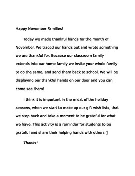 Thankful Hand Activity