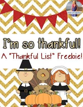 Thankful List *Freebie!*