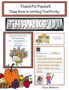 Thankful Packet: Class Book & Writing Craftivity