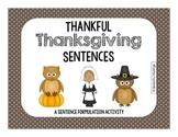 Thankful Thanksgiving Sentences for Sentence Formulation