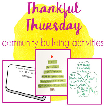 Thankful Thursday - Community & Team Building Activities