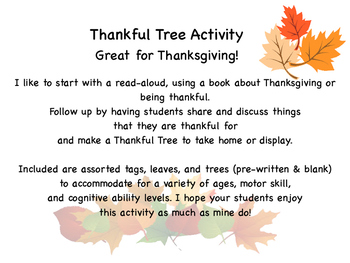 Thankful Tree Activity (Great for Thanksgiving! :)