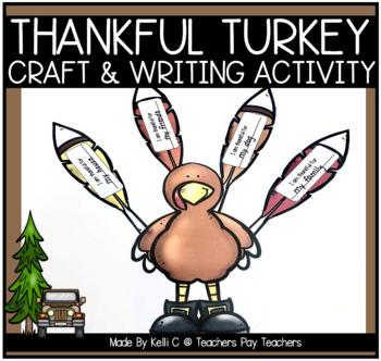 Thankful Turkey Art Project and Writing Activity (Thanksgi